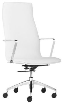 Zuo Herald White High-Back Office Chair - contemporary - Task Chairs - Euro Style Lighting