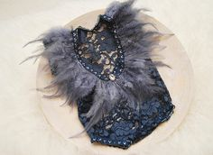 Newborn Photo Prop, Newborn Props, Baby Girl Outfit, Lace Romper, Newborn Romper, Photo Outfit, Newborn Outfit Prop, Dark Blue, Feathers, code 002 This newborn girl outfit is stunning! The dark blue lace is soft, stretchy and has great texture. On the back the romper is