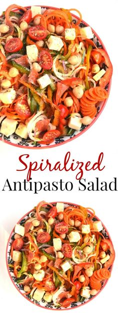 Spiralized Antipasto Salad takes a fun and unique spin on traditional antipasto salad with spiralized vegetables including peppers, onions, carrots and cucumbers, pepperoni, cheese, tomatoes, and a homemade Italian dressing! www.nutritionistreviews.com