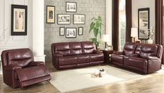 Shop Home Elegance Risco Burgundy Taupe Living Room Set with great price, The Classy Home Furniture has the best selection of to choose from Taupe Living Room, Burgundy Living Room, Leather Living Room Set, Spacious Living Room, Living Room Sets, Living Room Decor, Deco Furniture, Home Furniture, Burgundy Couch