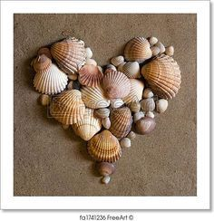 Shell heart on the beach. Free art print of Shell heart on sand. Dollar Store Crafts, Crafts To Sell, Diy And Crafts, Arts And Crafts, Paper Crafts, Creative Crafts, Seashell Art, Seashell Crafts, Beach Crafts
