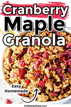 This homemade cranberry maple granola is so super easy to make and tastes amazing! Packed with oats, cranberries, maple, cinnamon and vanilla, you will love this combo for breakfast.