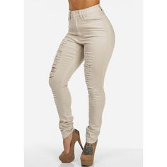 High Waisted Distressed Skinny Jeans (Khaki) ($25) ❤ liked on Polyvore featuring jeans, pants, bottoms, high waisted jeans, destroyed jeans, khaki jeans, high-waisted jeans and ripped jeans
