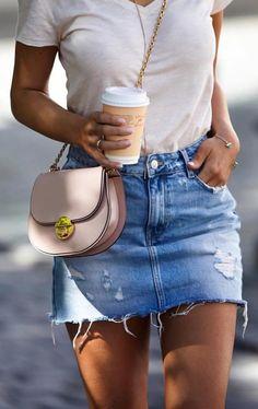 #summer #outfits Beige Tee + Ripped Denim Skirt