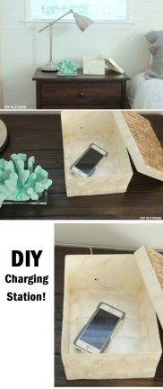 How do you hide your cords? @diyplaybook has an idea! Drill a hole in the side of a decorative box to create an easy, #DIY charging station. #HomeGoodsHappy