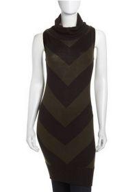 NWT! L.A.M.B Black/Green Cowl-Neck Tunic Dress