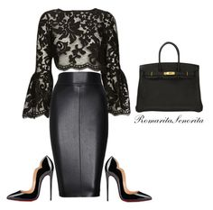 """Black Lace"" by romaritasenorita ❤ liked on Polyvore featuring Alexis, Bailey 44, Christian Louboutin and Hermès"