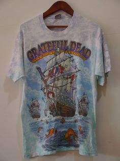 vintage 1993 90s GRATEFUL DEAD SHIP OF FOOLS TIE DYE t-shirt #LiquidBlue #TieDye