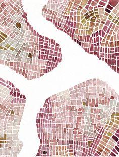 "Emily Garfield. Watercolor Boroughs (Cityspace #191). Watercolor on paper; 9"" x 12"""