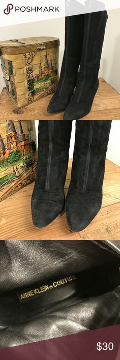 Vintage ANNE KLEIN COUTURE RARE BLACK SUEDE BOOTS Vintage ANNE KLEIN COUTURE RARE BLACK SUEDE BOOTS 5M 1970s   SALE IS FOR BOOTS ONLY   EUC   Please see photos as we do consider them to be a part of the description. Anne Klein Shoes Heeled Boots