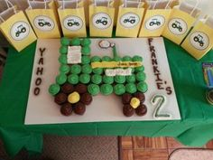 John Deere birthday cupcakes. See more John Deere birthday party ideas at www.one-stop-party-ideas.com