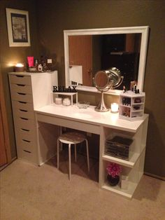 Makeup organization and storage. Desk and dresser unit from Ikea. Love this set up!