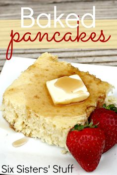 Baked Pancakes from SixSistersStuff.com. I made these, cut into squares, and froze them for busy mornings when we needed a good breakfast! | Easy Breakfast Recipes | Kid Approved Meal Ideas