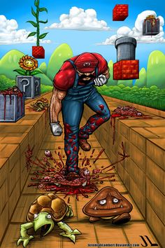 Well this is about as disturbing as it gets. Gives a whole new meaning to Super Smash Bros doesnt it? Super Killer Mario by Jeremiah Lambert Super Smash Bros, Super Mario Bros, Funny Memes, Jokes, Hilarious, More Wallpaper, Fan Art, Video Game Art, Totoro