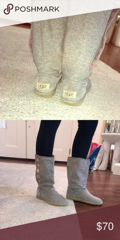 UGG Lo Pro Button Boots Grey Shoes