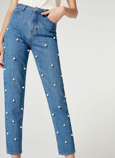 Mom fit jeans with faux pearls - - Uterqüe United Kingdom