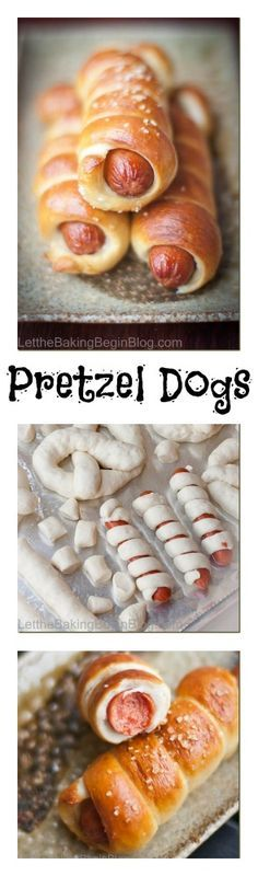 Chewy dough of the pretzel, slightly sprinkled with coarse salt and all lovingly wrapping the juicy sausage makes for a delicious lunch for kids and adults alike! | by LettheBakingBegin... |