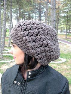 Crochet Slouchy wool Beanie Hat Crochet Beanie Hat by Ebruk 7a1866213a
