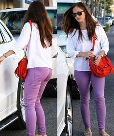 Light purple jeans w/ baggy white shirt and red bag