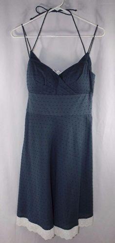OC by OC Sun Dress Size 9 Navy Blue White Eyelet Padded Flare #OCbyOC #BeachDressSundress #Casual