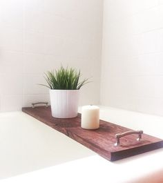 Relax and unwind with your new, freshly-stained bathtub caddy, custom made to fit the dimensions of your bathtub. CUSTOMIZE: -Choose your