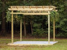 Construction is complete. Any visible marks or spurs may be hand sanded, if necessary. Treated lumber requires no sealant, but stain or paint may be applied, if desired. Plants and pavers or mulch may be used to accessorize. This inexpensive and easy-to-build pergola will provide years of maintenance-free enjoyment.