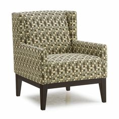 Helio Chair by Palliser is available in a wide range of fabrics or leathers, as well as wood colors for the base.