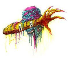 Alex Pardee, Melting Face, Paint Splats, Dark Art, Moose Art, Illustration Art, Tattoo Ideas, Animals, Painting