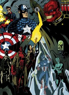 Captain America, Bucky, Red Skull, Bprd, Hellboy, The Line it is Drawn