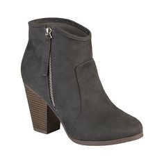 Women's Journee Collection Link Faux Suede Ankle Boots ($37) ❤ liked on Polyvore featuring shoes, boots, ankle booties, rich charcoal, side zipper boots, ankle boots, pull on ankle boots, block heel bootie and faux suede ankle boots