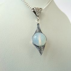 Wire wrapped opalite necklace £12.00