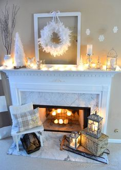 White Winter Mantel - Especially like the silver owls.