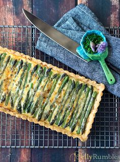Asparagus and Pesto Tart, made using an easy shortcrust pastry recipe.
