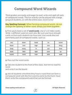 Spelling Games For Kids, Spelling Practice, Spelling Activities, Spelling Words, Classroom Activities, 3rd Grade Spelling, Compound Words, Educational Games For Kids, Third Grade