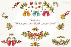 Check out Small set of vector floral elements by Dreaming_Lucy on Creative Market