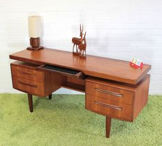 Beautiful Teak and Walnut Floating Desk by G Plan of England.  $1050
