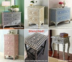 Indian bone inlayed furniture is so popular now! Get the same look for $34.95 with this stencil:  https://www.cuttingedgestencils.com/indian-inlay-stencil-furniture.html?category_id=1020