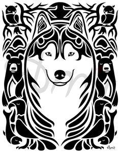 Siberian husky spirit by SiberianArt on Etsy