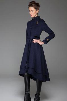 Womens Winter Coat Emerald Green Long Fitted Button by xiaolizi ...
