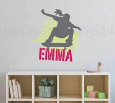 Skateboard Wall Decal | Skateboard Vinyl Wall Decal | Skateboarder Decal for Kids |  Teen or Childrens Room 046
