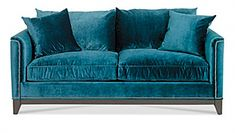 """jonathan louis """"mystere"""" sofa at Dillard's! Teal Velvet Sofa, Teal Sofa, Blue Sofas, Take A Seat, Love Seat, Turquoise Couch, Inspired Homes, My Living Room, My Dream Home"""