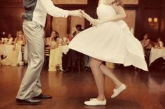 I think during my wedding I want a swing teacher to come and teach the entire party some swing steps, then after the lesson will be a bunch of swing songs to show their stuff. I want a few foxtrot songs too. And also I want my first dance to be swing, maybe start off as slow dance then turn into actual swing with the throwing in the air and sliding under legs and stuff. I wanna have fun. ALSO gonna have some electro-swing for more dancey songs.