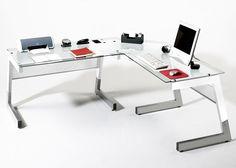 Schreibtisch Big XL Metall und Glas Weiß 20573. Buy now at https://www.moebel-wohnbar.de/schreibtisch-big-xl-metall-und-glas-weiss-20573.html