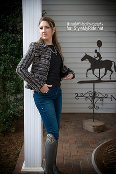 We love New York designer Christine Manthey. This @msmanthey  Boucle jacket offers a classical, tailored design with the comfort and warmth essential for this time of year. A black damask fitted top, also from the Manthey Fall 2015 collection adds style and elegance to Cherie's look. @2kgrey  breeches feature the exception quality you would expect from a high-end equestrian brand but they fit and wear like your favorite comfy jeans. stylemyride.net @SMRequestrian