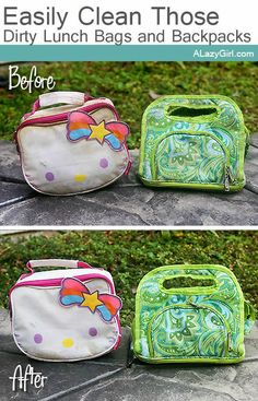 Easily Clean Those Dirty School Lunchboxes and Backpacks |a Lazy Girl