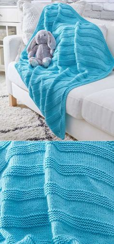Free Knitting Pattern for an Easy Cuddly Knit Baby Blanket