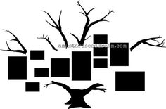 Family Photo Tree with Bare Branches - Vinyl Wall Art Graphics Lettering Decals Stickers