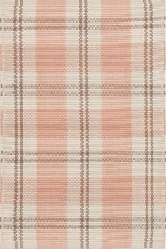 #DashAndAlbert Molly Indoor/Outdoor #Rug. Bunny Williams updated a classic, wide plaid with a modern combo of coral, brown, and taupe stripes. Crafted of recycled materials into a durable, washable indoor/outdoor weave. #interiors #homedecor