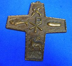 Vintage German Brass or Bronze Christianity Cross #AO