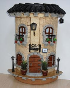 What a wonderful artwork, I love it Clay Houses, Ceramic Houses, Miniature Houses, Cardboard Box Crafts, Tile Crafts, Clay Fairies, Hobby Photography, Clay Tiles, Fairy Garden Houses
